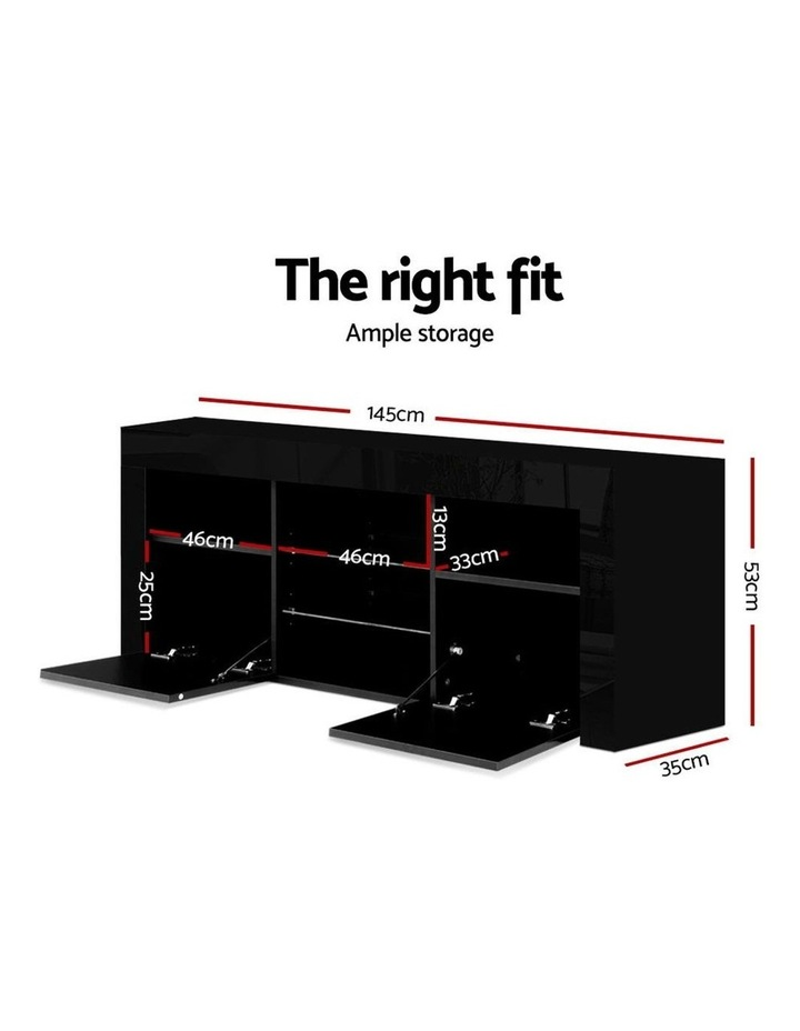 145cm RGB LED TV Cabinet Entertainment Unit Stand Gloss Furniture Black image 2