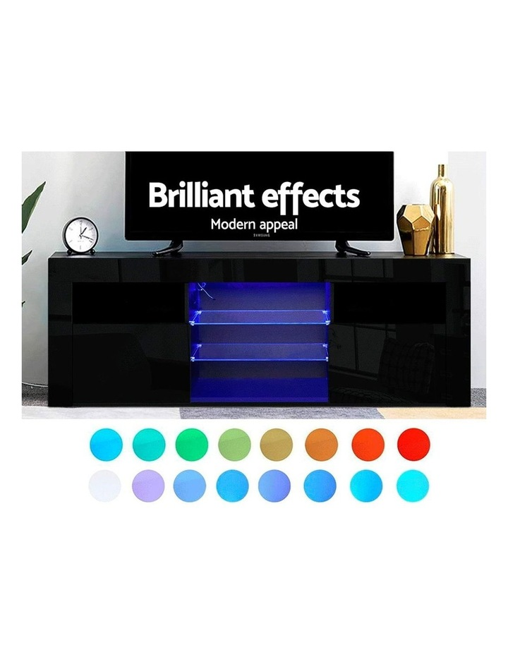 145cm RGB LED TV Cabinet Entertainment Unit Stand Gloss Furniture Black image 3