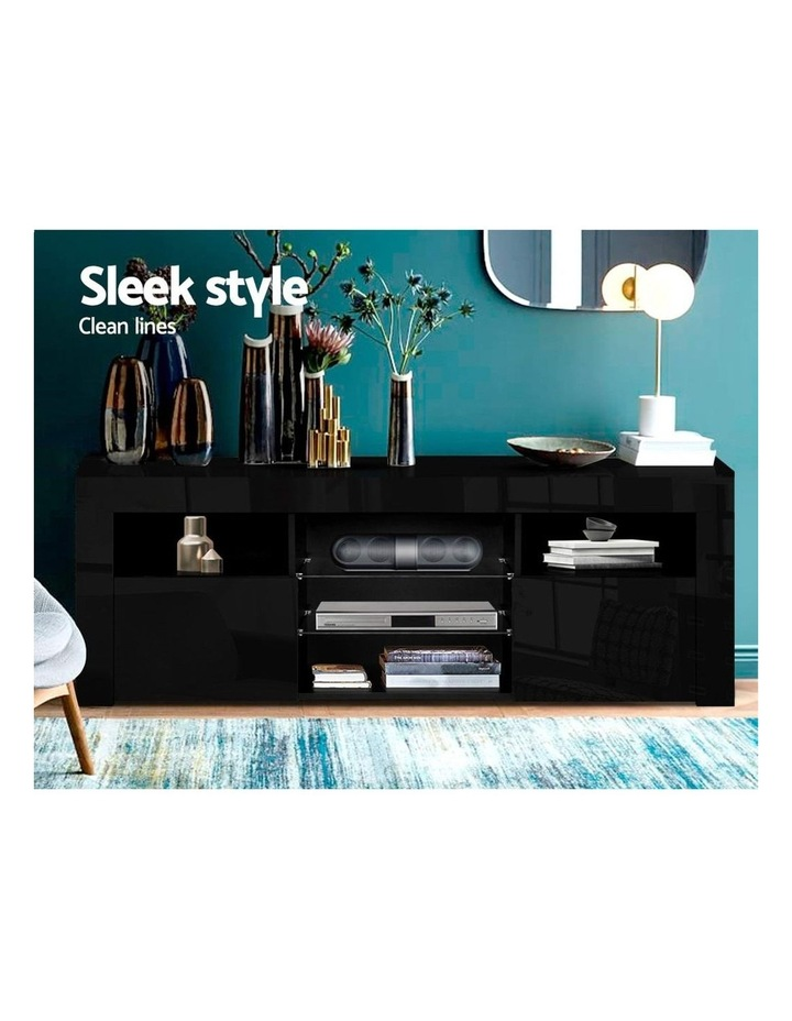 145cm RGB LED TV Cabinet Entertainment Unit Stand Gloss Furniture Black image 4