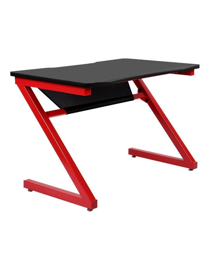 Gaming Desk Home Office Carbon Fiber Computer Table Racer Desks Black Red image 1