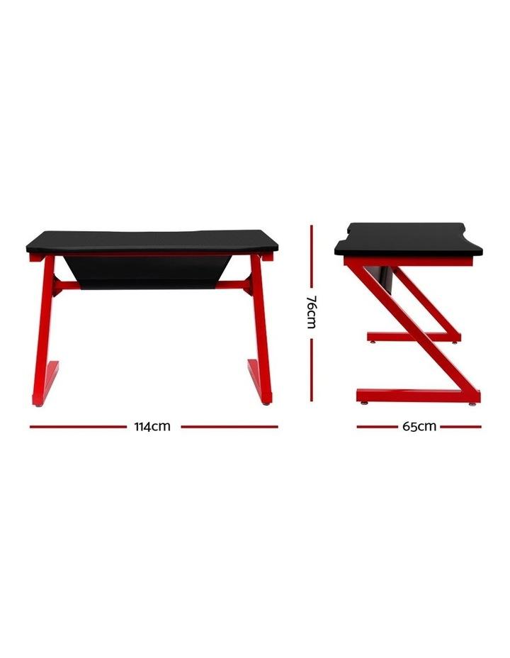 Gaming Desk Home Office Carbon Fiber Computer Table Racer Desks Black Red image 2