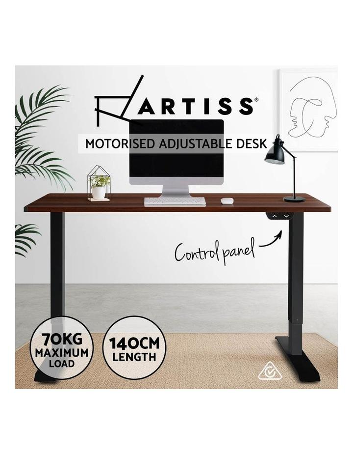 Motorised Electric Height Adjustable Standing Desk Computer Black Walnut image 3