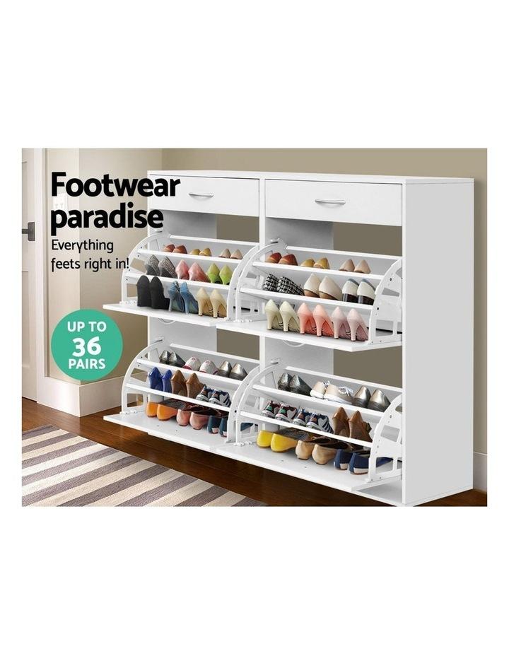 Shoe Cabinet Shoes Storage Rack Organiser White Shelf Drawer 36 Pairs image 4