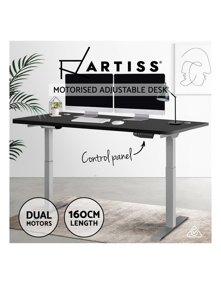 Height Adjustable Standing Desk Electric Motorised Sit Stand Grey Frame image 4
