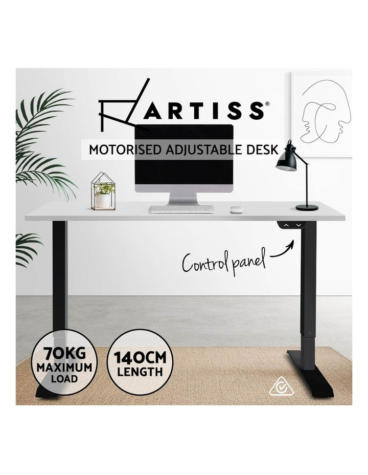 Motorised Electric Height Adjustable Standing Desk Computer Black White image 3