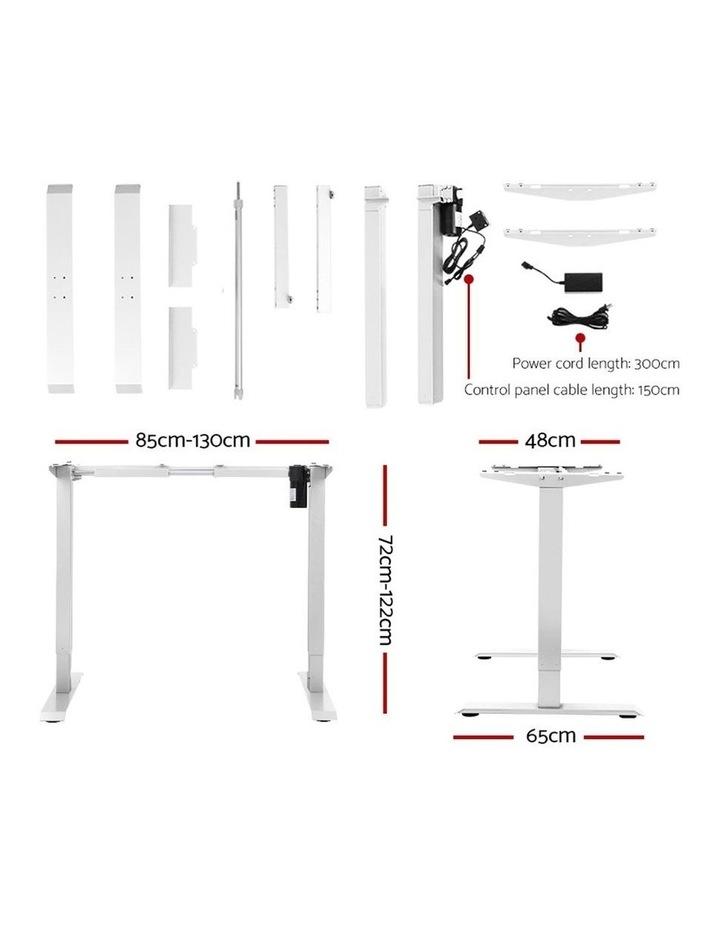 Motorised Electric Height Adjustable Standing Desk Computer White White Oak image 2