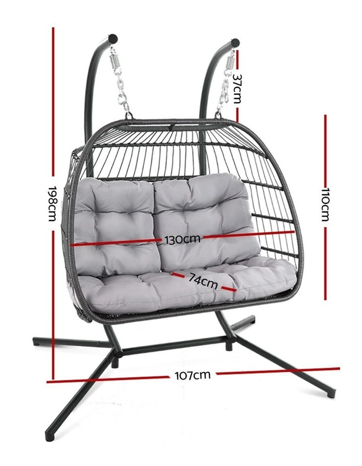 Outdoor Furniture Hanging Swing Chair Egg Hammock Pod Wicker 2 Person image 2