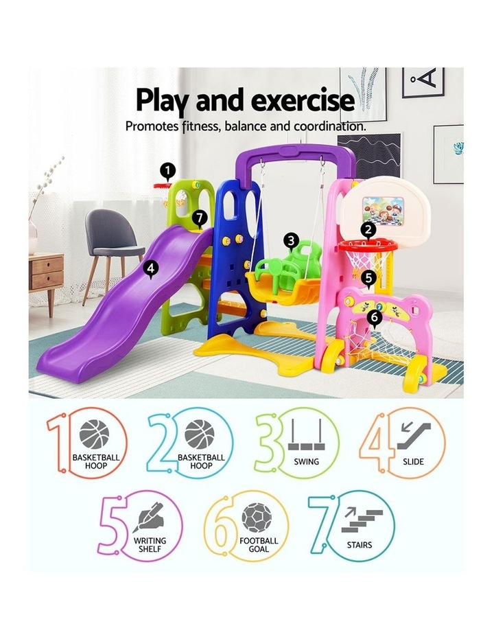 Slide Swing with Basketball Hoop Outdoor Indoor Playground Play slides image 3