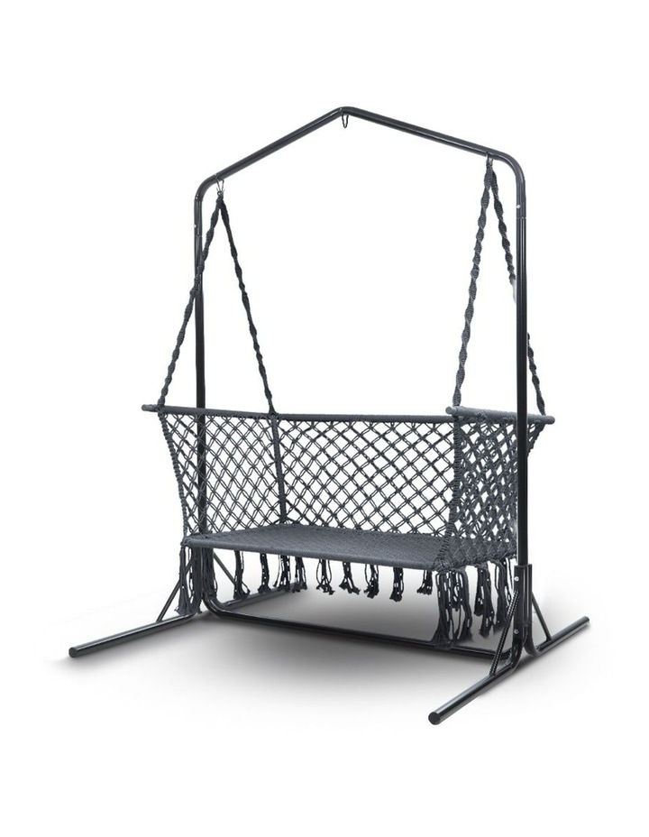Outdoor Swing Hammock Chair with Stand Frame 2 Seater Bench Furniture image 1