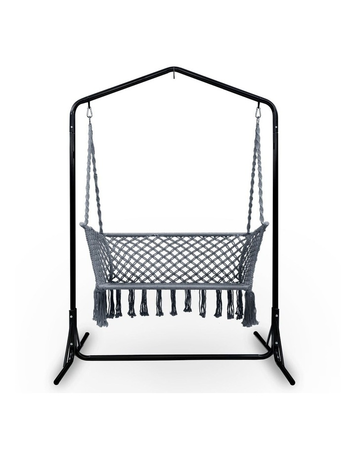 Outdoor Swing Hammock Chair with Stand Frame 2 Seater Bench Furniture image 2