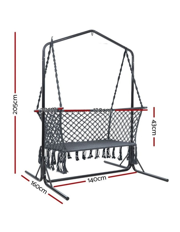 Outdoor Swing Hammock Chair with Stand Frame 2 Seater Bench Furniture image 3
