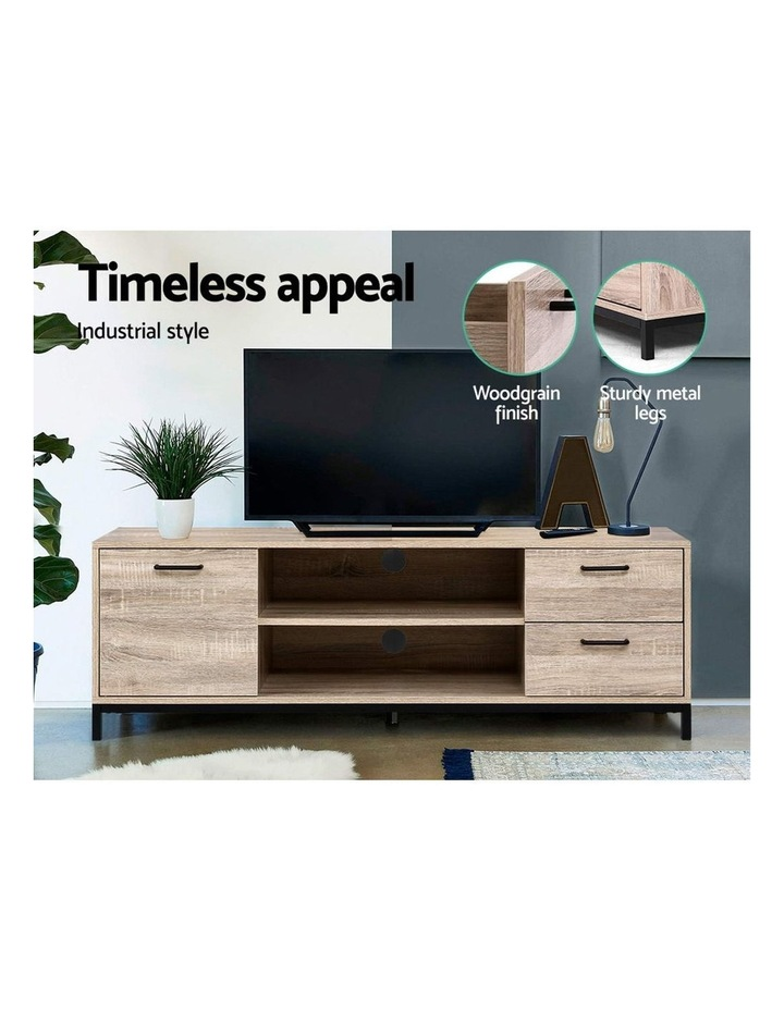 TV Cabinet Entertainment Unit Stand Industrial Wooden Metal Frame 132cm Oak image 3