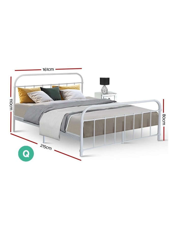 Queen Size Metal Bed Frame - White image 2