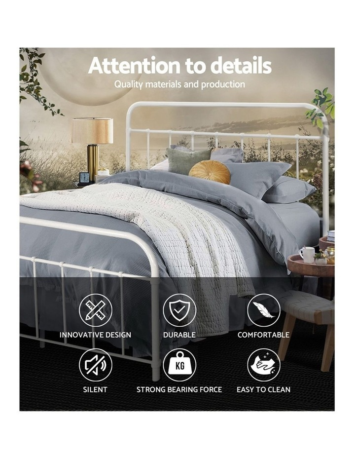 Queen Size Metal Bed Frame - White image 3