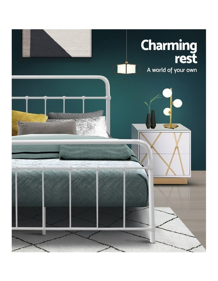 Queen Size Metal Bed Frame - White image 6