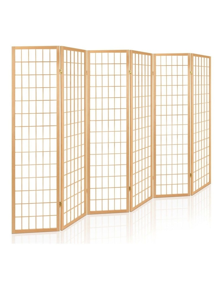 6 Panel Room Divider Screen Wooden Timber Natural Fold Stand Privacy image 1