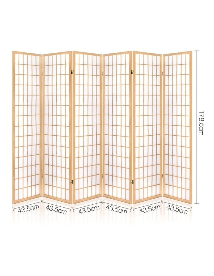 6 Panel Room Divider Screen Wooden Timber Natural Fold Stand Privacy image 2