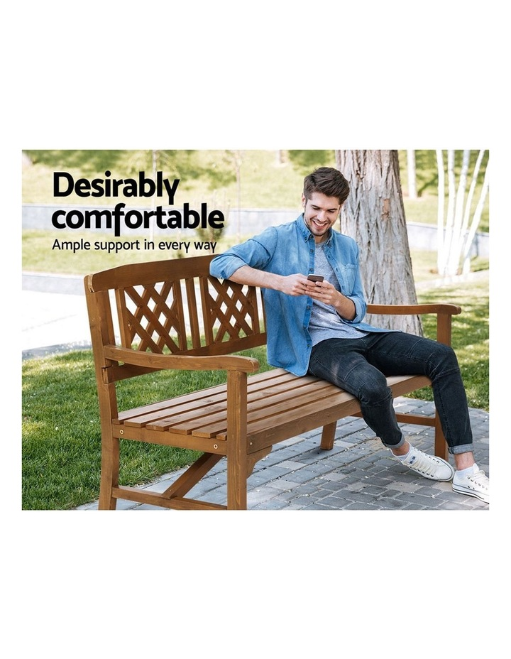 Wooden Garden Bench 3 Seat Patio Furniture Timber Outdoor Lounge Chair image 3