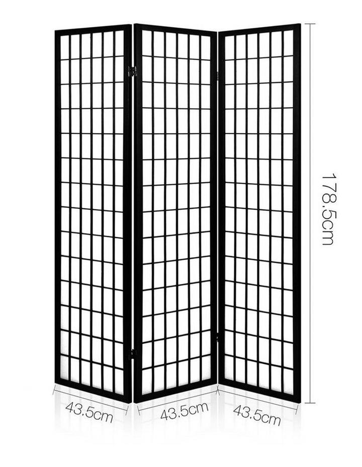 3 Panel Wooden Room Divider - Black image 2