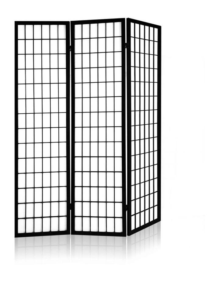 3 Panel Wooden Room Divider - Black image 3