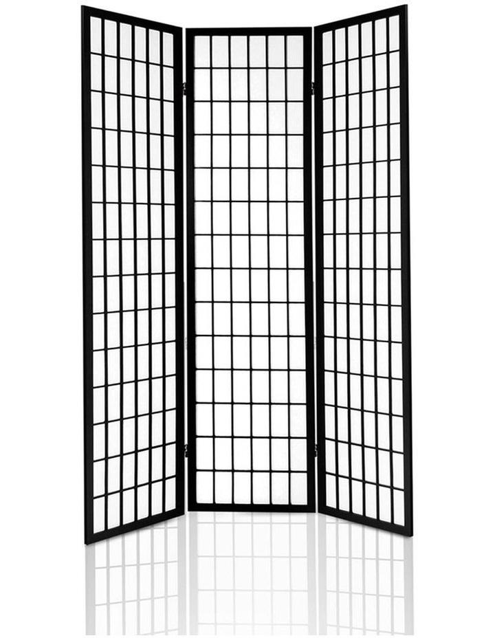 3 Panel Wooden Room Divider - Black image 4