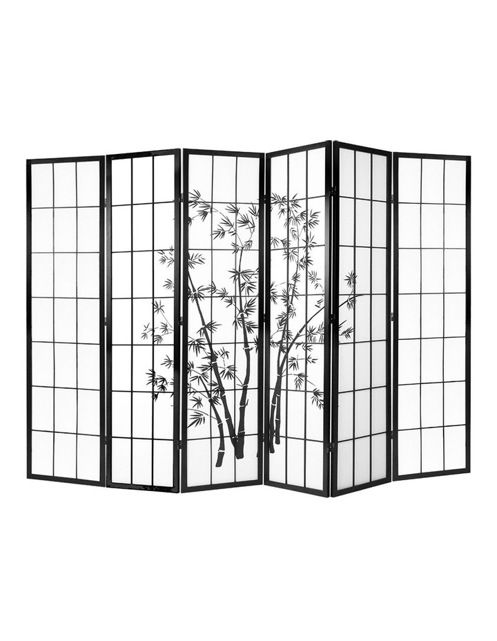 6 Panel Room Divider Screen Privacy Dividers Pine Wood Stand Black White image 1