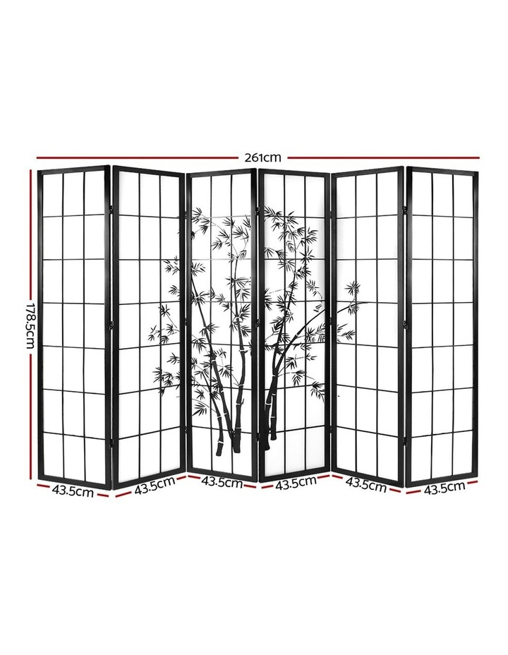6 Panel Room Divider Screen Privacy Dividers Pine Wood Stand Black White image 2