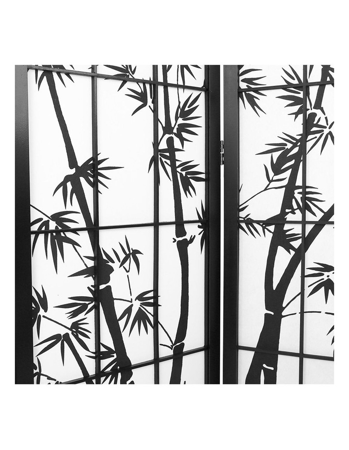 6 Panel Room Divider Screen Privacy Dividers Pine Wood Stand Black White image 5