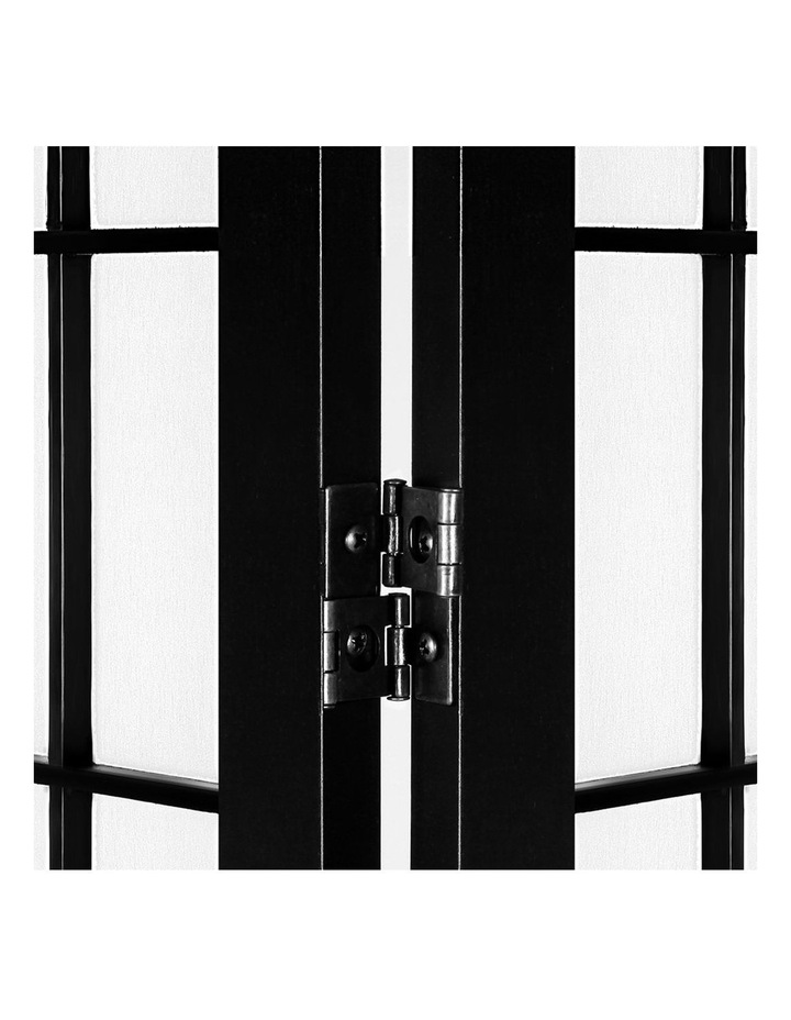 6 Panel Room Divider Screen Privacy Dividers Pine Wood Stand Black White image 6