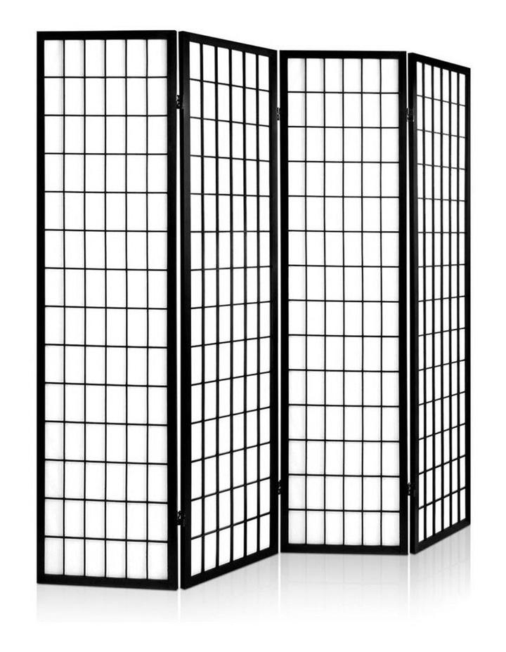4 Panel Wooden Room Divider - Black image 1