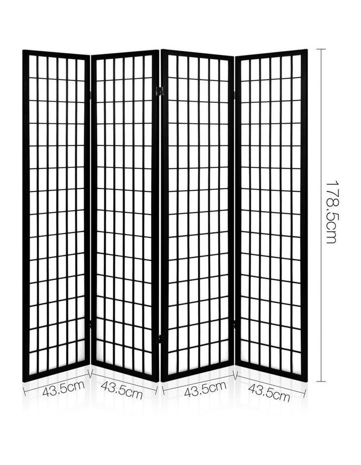 4 Panel Wooden Room Divider - Black image 2