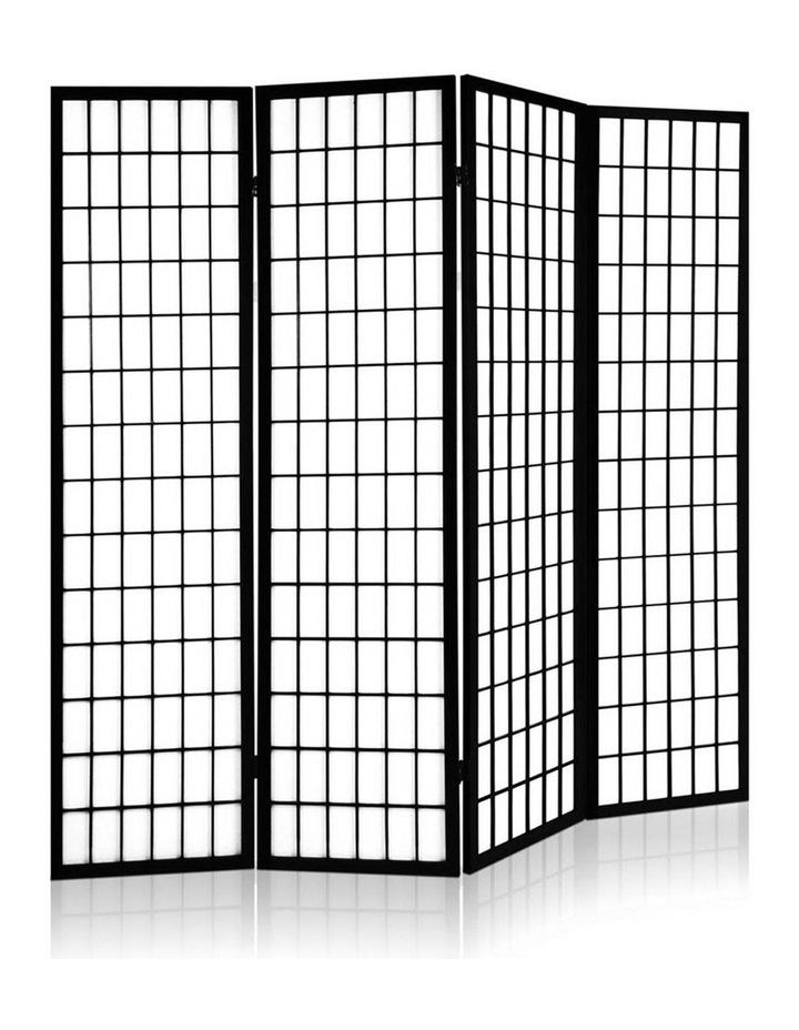 4 Panel Wooden Room Divider - Black image 3