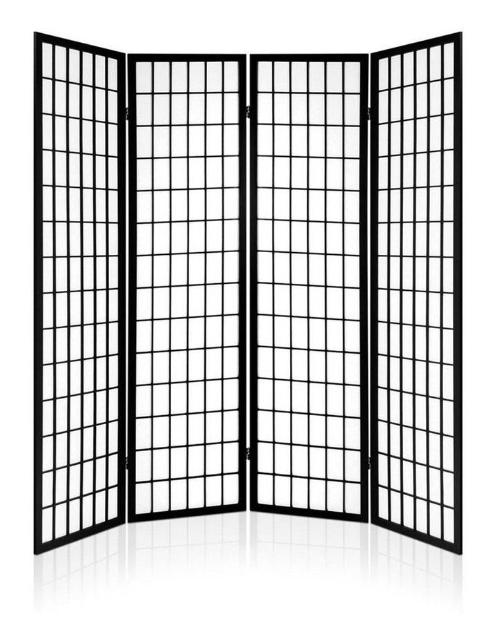 4 Panel Wooden Room Divider - Black image 4