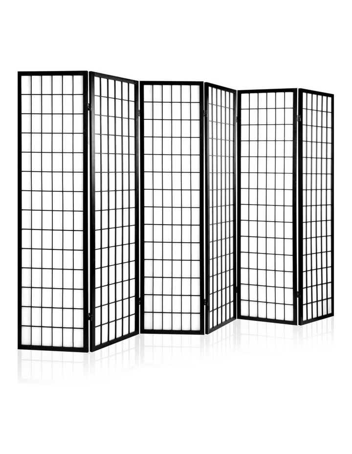 6 Panel Room Divider Screen Dividers Timber Privacy Stand Black image 1
