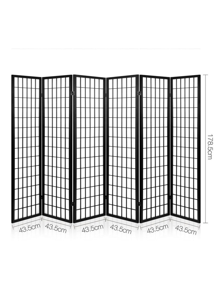 6 Panel Room Divider Screen Dividers Timber Privacy Stand Black image 2