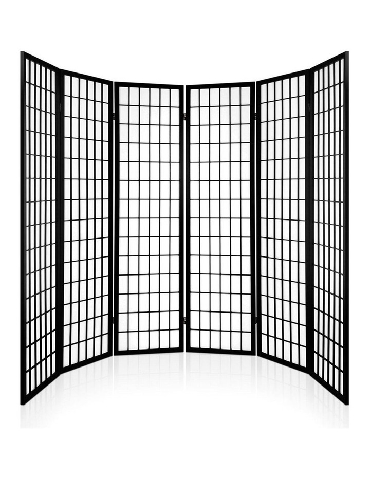6 Panel Room Divider Screen Dividers Timber Privacy Stand Black image 4