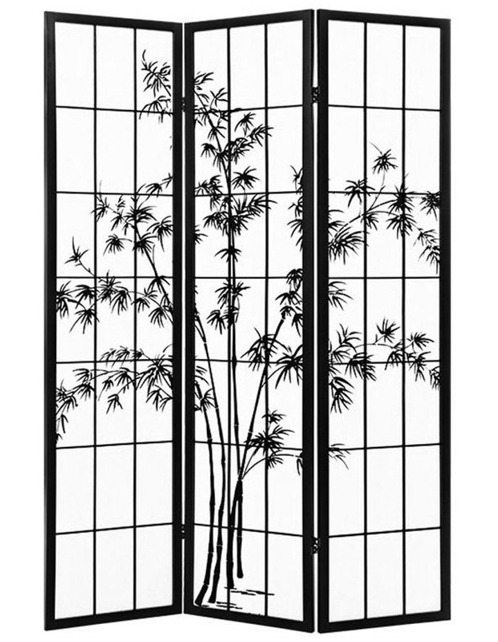 3 Panel Room Divider Screen Privacy Dividers Pine Wood Stand Shoji Bamboo Black White image 1