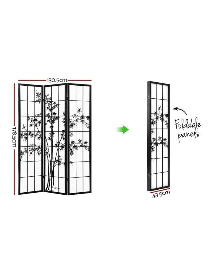 3 Panel Room Divider Screen Privacy Dividers Pine Wood Stand Shoji Bamboo Black White image 2