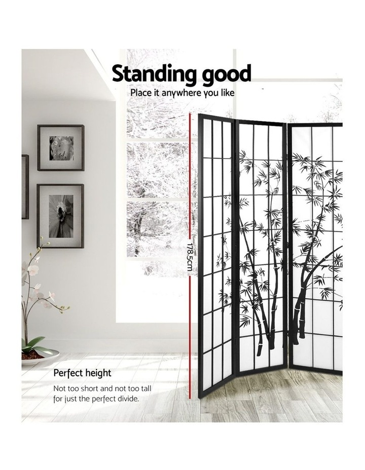 3 Panel Room Divider Screen Privacy Dividers Pine Wood Stand Shoji Bamboo Black White image 4