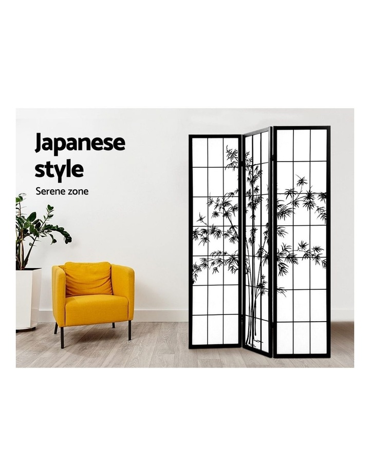 3 Panel Room Divider Screen Privacy Dividers Pine Wood Stand Shoji Bamboo Black White image 5