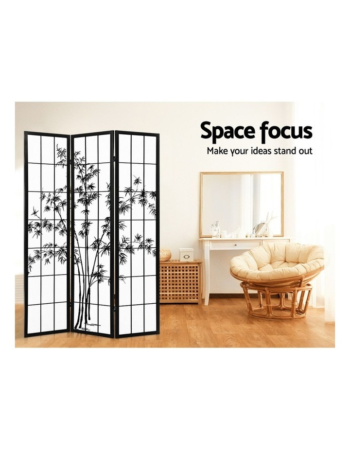 3 Panel Room Divider Screen Privacy Dividers Pine Wood Stand Shoji Bamboo Black White image 6