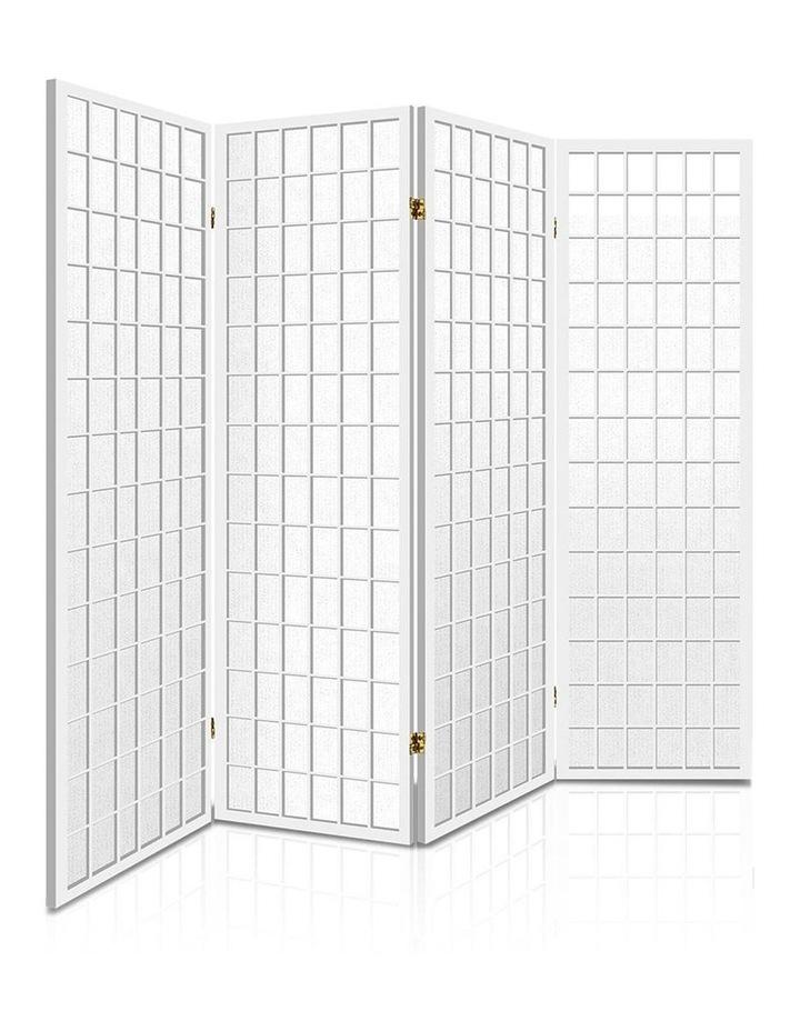 4 Panel Wooden Room Divider - White image 1