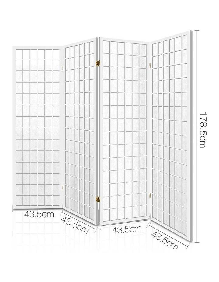 4 Panel Wooden Room Divider - White image 2