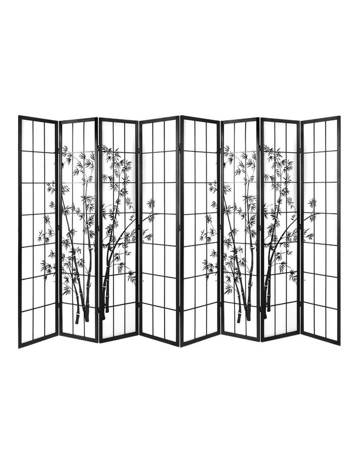 8 Panel Room Divider Screen Privacy Dividers Pine Wood Stand Shoji Bamboo Black White image 1