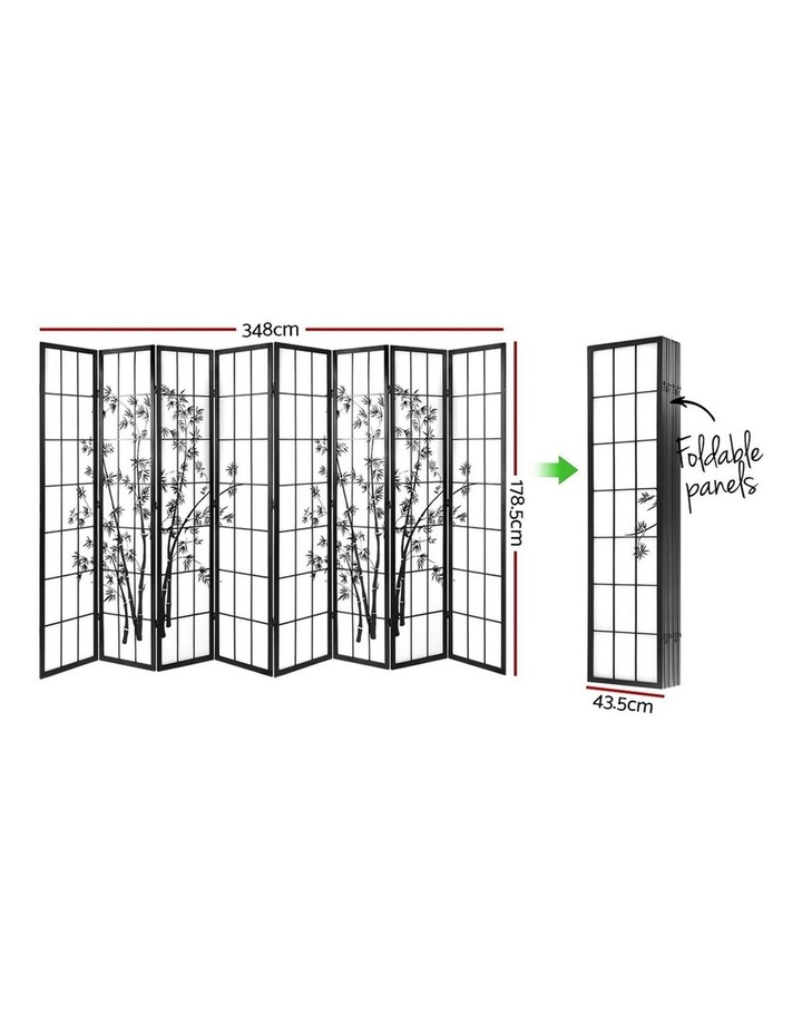 8 Panel Room Divider Screen Privacy Dividers Pine Wood Stand Shoji Bamboo Black White image 2