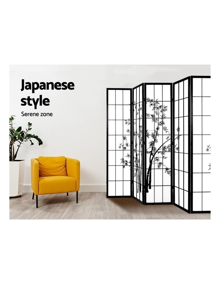 8 Panel Room Divider Screen Privacy Dividers Pine Wood Stand Shoji Bamboo Black White image 6