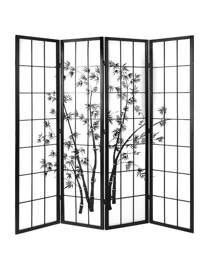 4 Panel Room Divider Screen Privacy Dividers Pine Wood Stand Shoji Bamboo Black White image 1