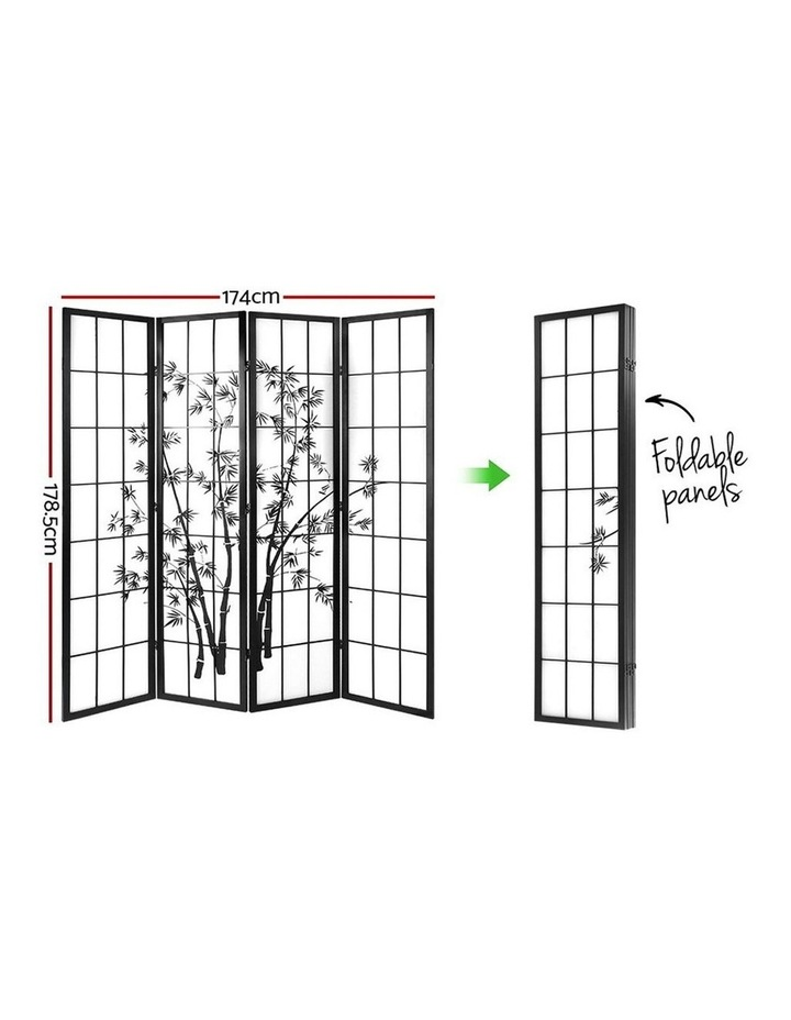 4 Panel Room Divider Screen Privacy Dividers Pine Wood Stand Shoji Bamboo Black White image 2