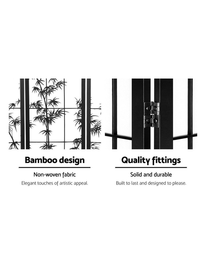 4 Panel Room Divider Screen Privacy Dividers Pine Wood Stand Shoji Bamboo Black White image 3