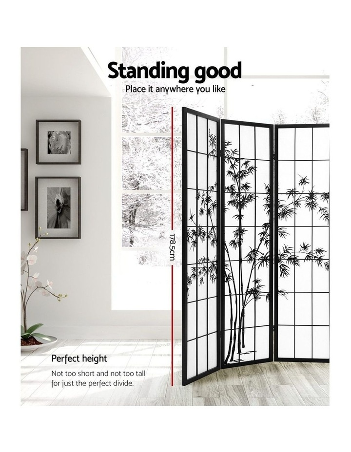 4 Panel Room Divider Screen Privacy Dividers Pine Wood Stand Shoji Bamboo Black White image 4